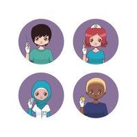 coleção de avatares enfermeiras vetor