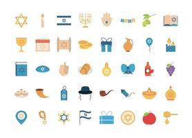 hanukkah, conjunto de ícones planos de cerimônia tradicional judaica