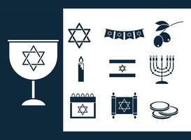 hanukkah, conjunto de ícones de silhueta de cerimônia tradicional judaica