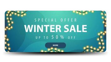 venda de inverno, banner azul de desconto com botão vetor