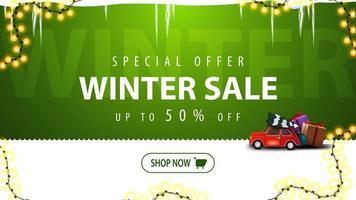 venda de inverno, banner de desconto verde com botão vetor