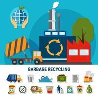 conjunto de ícones de descarte de lixo