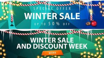 banners de desconto de inverno com fundo poligonal