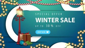 venda de inverno, banner azul de desconto com botão
