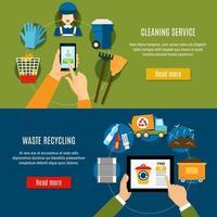 conjunto de banner de modelo de serviço de reciclagem de resíduos