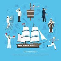 antigo veleiro marinheiro composição retro vetor