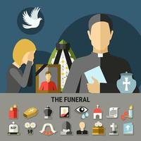 conjunto de ícones e banner para funeral e luto