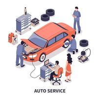 composição isométrica de serviço automotivo vetor