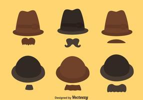Vetor Da Coleção Do Estilo Do Chapéu E Do Moustache