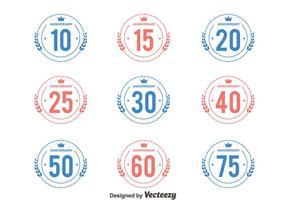 Rosa e azul aniversário emblema coleção vetores