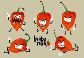 Hot Habanero Angry Pose Cara Vector Ilustração