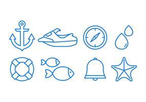 Conjunto de ícones do mar vetor