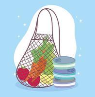 mantimentos com produtos frescos e comida enlatada vetor