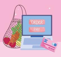 mercado online via computador com cartão de crédito vetor