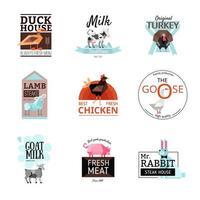 conjunto de logotipo de alimentos vetor