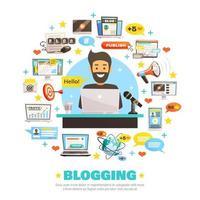 Olá blogger template banner com ícones