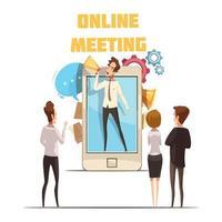 conceito de reunião online vetor