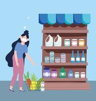 mulher com máscara facial no supermercado vetor