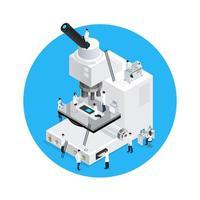 microscópio branco isométrico e cientistas