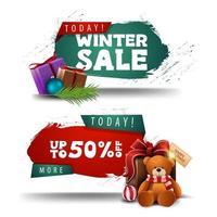 banners de desconto de inverno com presentes e ursinho de pelúcia