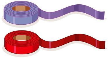 fita adesiva roxa e vermelha ou rolos de fita isolados no fundo branco vetor