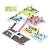 composição isométrica das instalações do aeroporto vetor