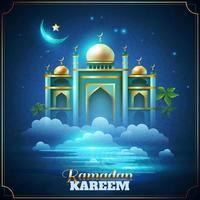 pôster realista da celebração do Ramadã Kareem vetor