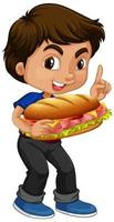 menino bonito segurando sanduíche vetor