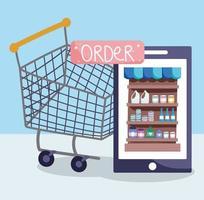 mercado online, smartphone com carrinho de compras e botão de pedido