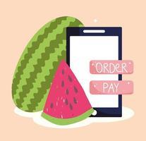 mercado online, smartphone e fruta melancia vetor
