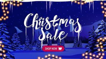 venda de natal, banner de desconto com noite azul de inverno