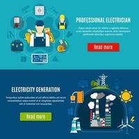 Conjunto de banner modelo eletricista e geração de eletricidade vetor