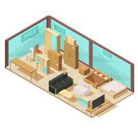 composição isométrica de loja de móveis
