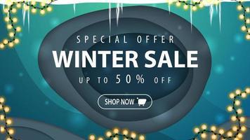 liquidação de inverno, banner de desconto em estilo de corte de papel vetor