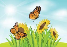 Livre Mariposa com SunFlower Jardim Ilustração vetor