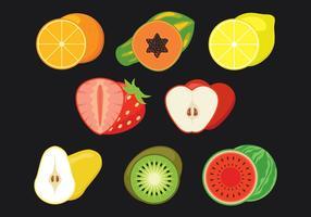 Frutas, fatias, vetorial, ícones, jogo vetor