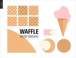 ilustração de seis padrões de waffle sem costura vetor