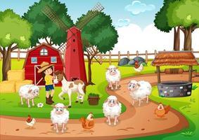 o velho macdonald em uma cena de canções infantis em uma fazenda