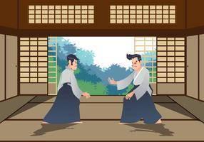 Homem, praticando, aikido, dojo vetor