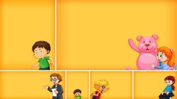 conjunto de diferentes personagens infantis em fundo de cor amarela