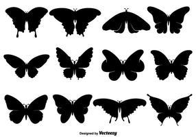 Ícones de borboleta preta ou silhuetas conjunto vetor