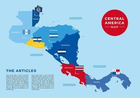 Mapa da América Central Bandeira Vector Livre