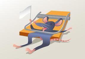 Um rato colado em uma armadilha do rato vetor