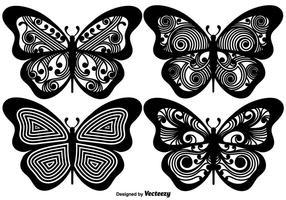 Vetorial, ornamented, borboleta, silhuetas vetor
