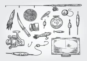 Ícones dos ícones do equipamento de pesca vetor