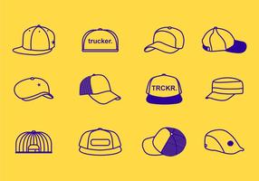 Linha do curso Ícone dos chapéus do camionista vetor