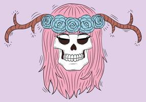 Crânio bonito com chifres e cabelo cor-de-rosa vetor