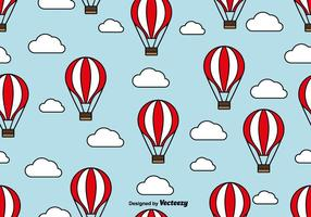 Balão de ar quente padrão sem emenda com nuvens vetor