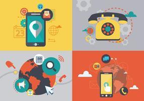 Internet Telefone Comunicação Digital Vector Plano