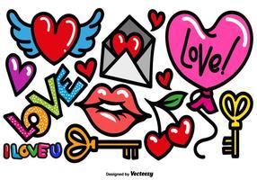 Ícones do amor dos desenhos animados do vetor